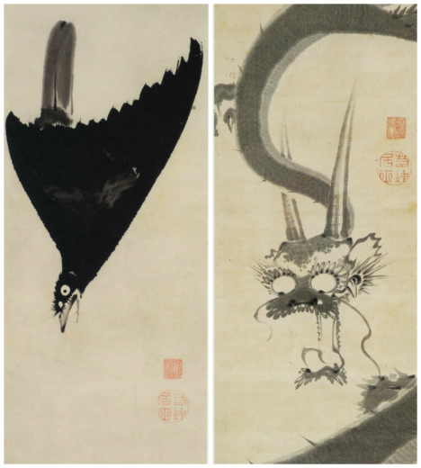 s820-8月に叭々鳥図&雨龍図