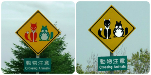 s827-2赤いキツネと緑のタヌキ・交通標識