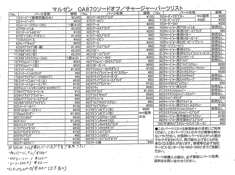 002 MALZEN CA870 PARTS LIST マルゼン CA870 パーツ リスト MALZEN 『CA870チャージャー』 を 『CA870ソードオフ』 へ改造計画!! トリガー&トリガーガード交換編!!