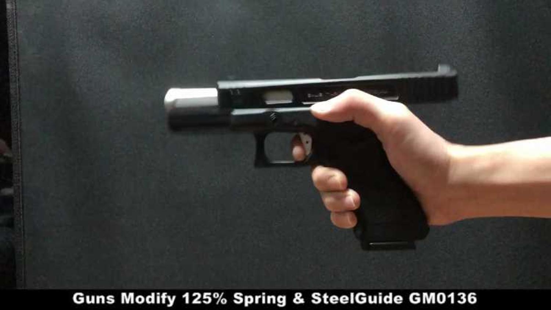 3 東京マルイ GLOCK 17 アルミスライドがキレキレなブローバックに進化!! 『Guns Modify 125% リコイルスプリングリコイルスプリング+スチールガイド & ハンマースプリング GM0136』 を装着!! カスタム 取付 比較 レ