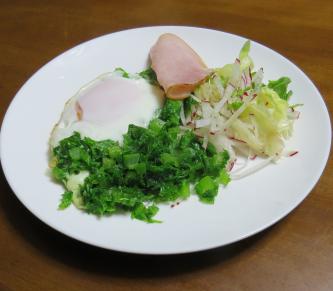 わさび菜の卵とじサラダ