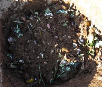 生ゴミ処理における土との混合