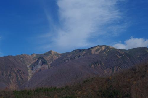 直路城から見た巻機連山