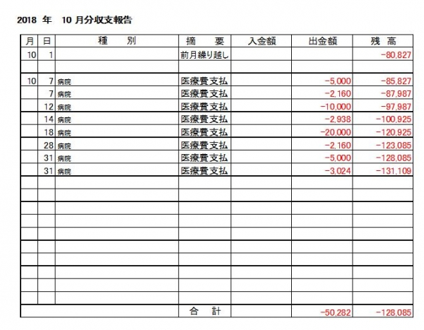 収支報告18-10月分
