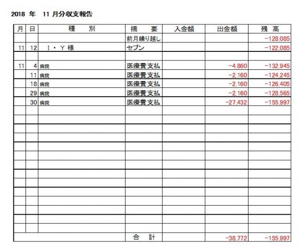 収支報告18-11月分